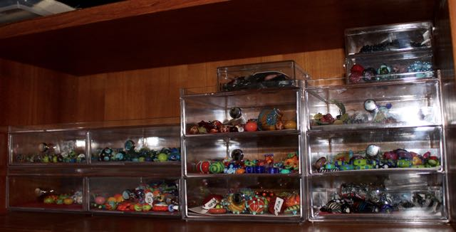 lampwork collection displayed