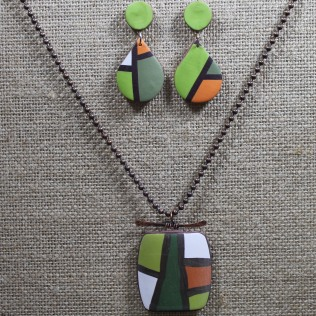 Color Block Necklace and Earrings