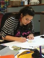 Julie demoing lettering.